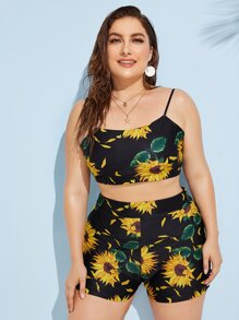 Plus Sunflower Print Cami Top With Short 2piece Swim