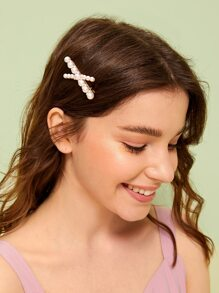 Faux Pearl Design Criss Cross Hairpin 1pc