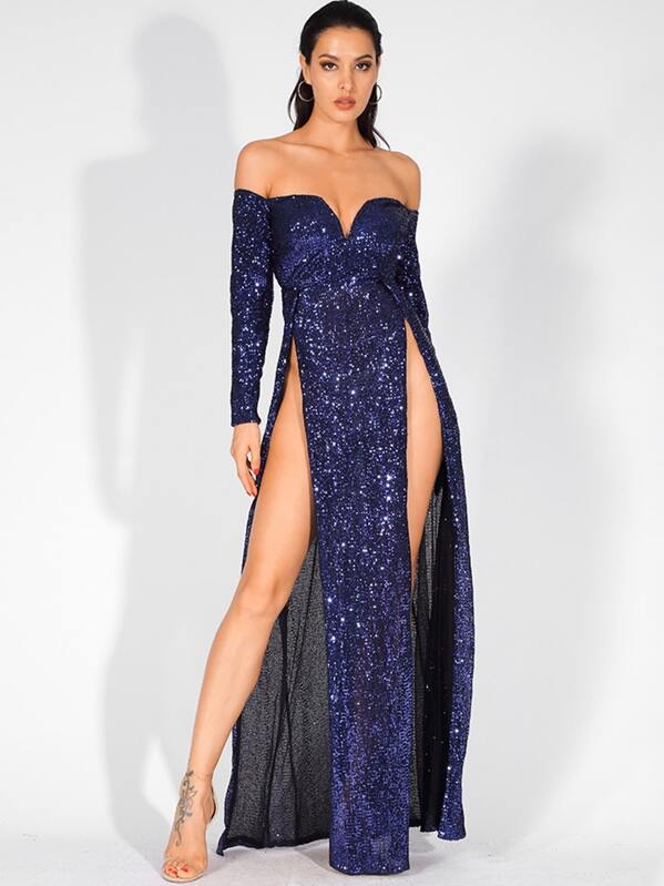 b7913227aa LOVE&LEMONADE Split Thigh Bardot V-bar Sequin Maxi Dress