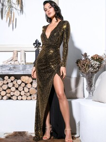 LOVE&LEMONADE Plunge Neck Split Thigh Sequin Maxi Dress