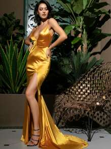LOVE&LEMONADE Split Thigh Backless Satin Maxi Slip Dress