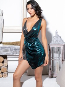 LOVE&LEMONADE Two Tone Criss-cross Backless Wrap Metallic Cami Dress