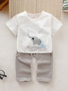 Toddler Boys Tasseled Letter Print Tee With Pants