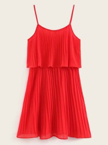 Solid Pleated Cami Dress