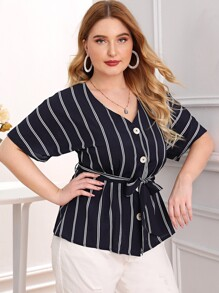 Plus Button Front Striped Belted Blouse