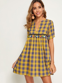 Notched Plaid Fringe Trim Dress