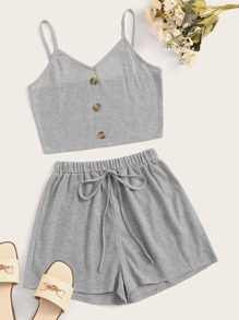 Rib-Knit Button Front Cami Top With Knot Shorts