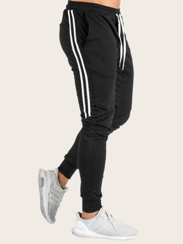 0354d7816bd3 Pantalones de hombres de lado de rayas de cintura con cordón | SHEIN ES