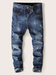 Men Ripped Ruched Detail Fade Jeans