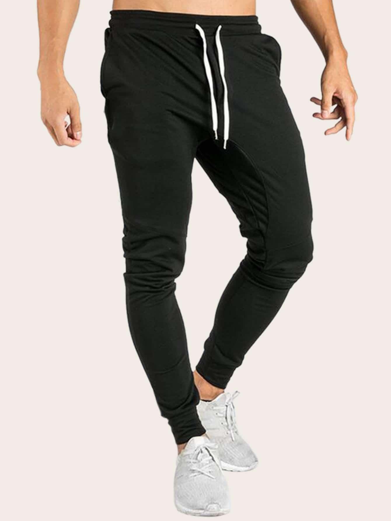 Pantalones de hombres de lado de rayas de cintura con ...