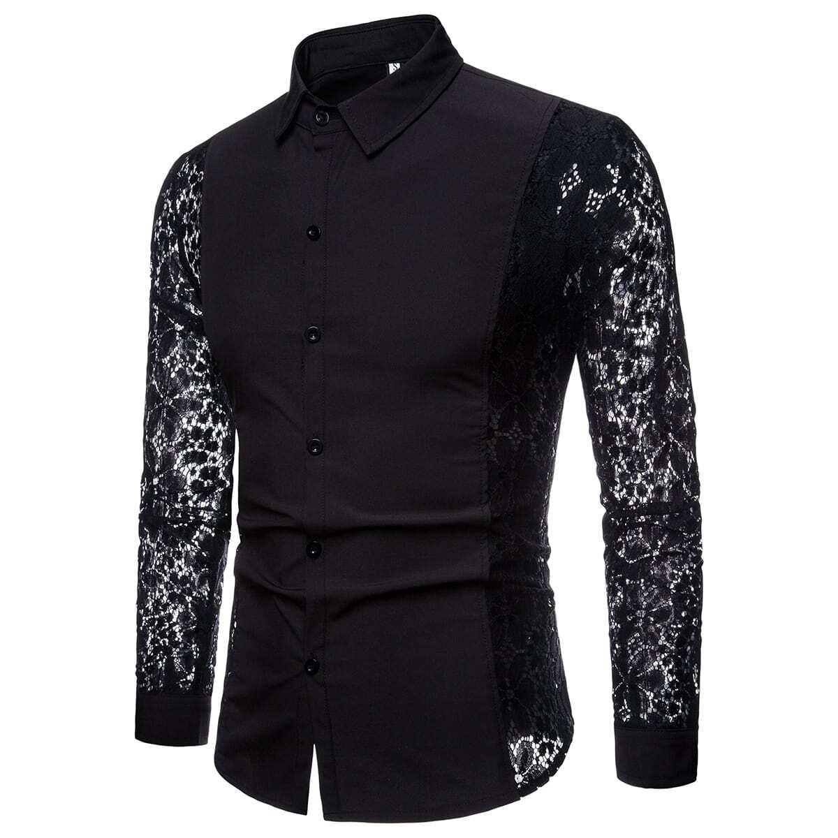 Мужская Однобортная Рубашка С Кружевным Рукавом
