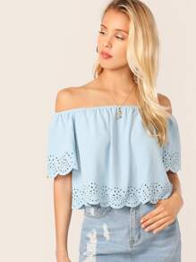 Off Shoulder Scallop Trim Laser Cut Top
