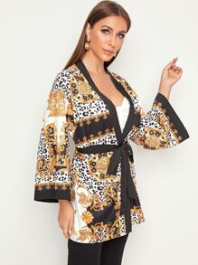 Open Front Self Belted Scarf Print Kimono