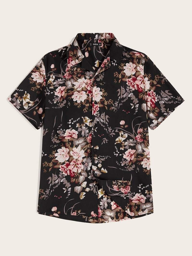 61242895d5e Camisa de hombres de cuello revere con estampado botánico