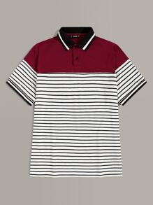 Men Colorblock Striped Polo Shirt