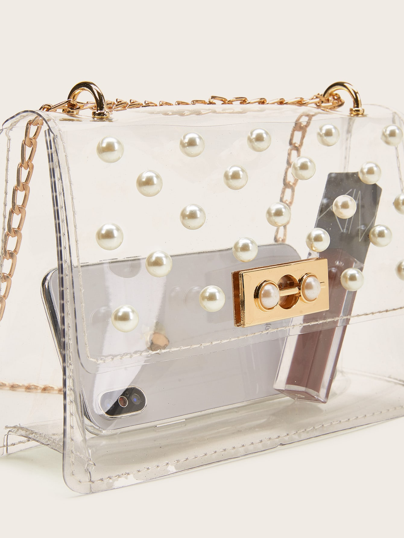 Off White with Gold Clasp Xiazw DIY Short Large Imitation Pearl Bead Purse Handle Strap Bag Charms Handbag Chain Replacement Accessories Decoration