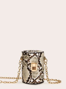 Snakeskin Print Bucket Bag With Chain Strap