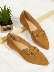 Point Toe Faux Suede Flats