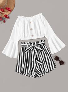 Frill Trim Fluted Sleeve Off Shoulder Top With Striped Belted Paperbag Shorts