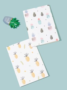 Pineapple Print Cover Notebook 2pcs