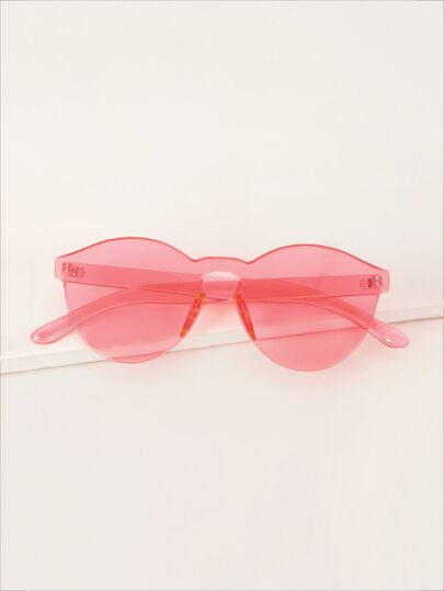 Thin Round Rimless Colored Lens Sunglasses