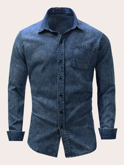Men Button Front Pocket Washed Denim Shirt