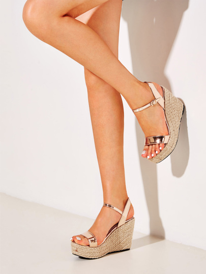 1e55e1f91549 Two Part Buckle Strap Espadrille Wedges