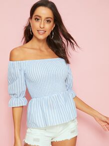 Striped Off Shoulder Shirred Ruffle Trim Top