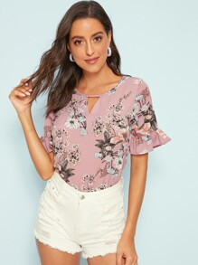 Floral Print Flounce Sleeve Cut-out Top