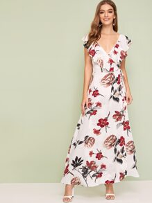 Floral Print Ruffle Trim Wrap Knotted Dress