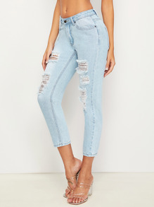 Distressed Wash Jeans