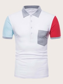 Men Contrast Sleeve Pocket Front Polo Shirt
