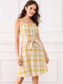 Plaid Print Button Front Belted Dress