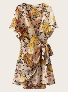 Floral Print Tie Side Chiffon Wrap Dress