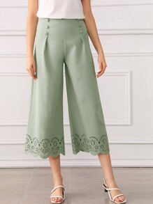 Covered Button Laser Cut Wide Leg Pants