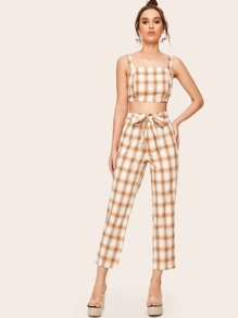 Plaid Print Shirred Back Crop Top With Belted Pants