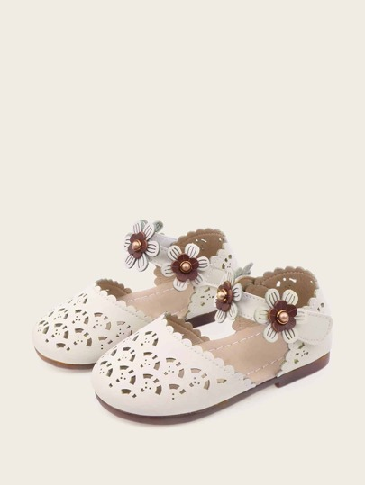 Baby Girls Floral Applique Hollow Out Sandals