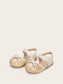 Baby Girls Bow Decor Contrast Sequins Sandals