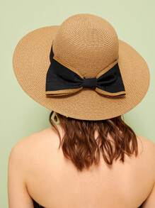 Bow Tie Decor Floppy Hat