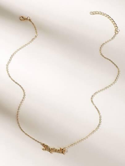 ada7eff7cb19 Letter Pendant Chain Necklaces 1pc