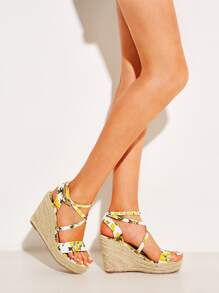 Lemon Print Ankle Strap Espadrille Wedges