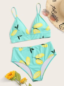 Lemon Top With High Waist Bikini Set