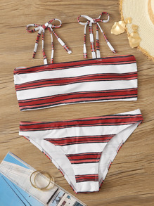 Striped Self Tie Top With Cheeky Bikini Set