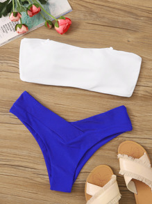 Detachable Bandeau With High Cut Bikini Set