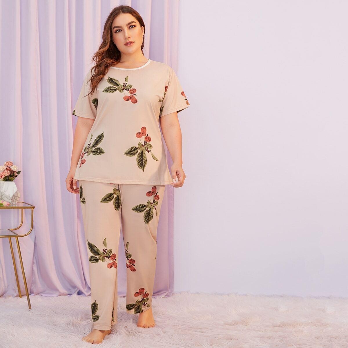 shein Plus fruit print pyjama set