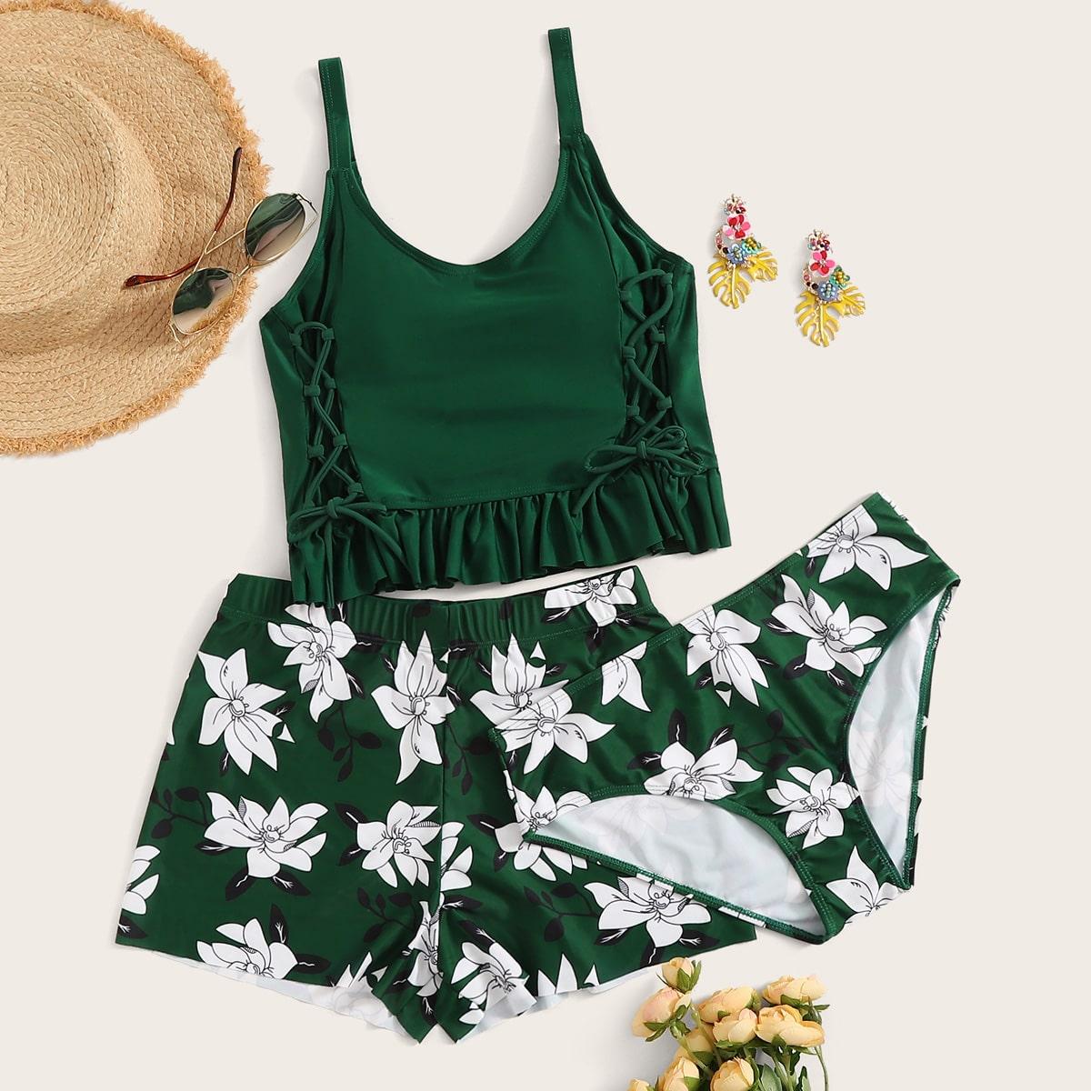 SHEIN coupon: 3pack Floral Ruffle Hem Bikini Swimsuit