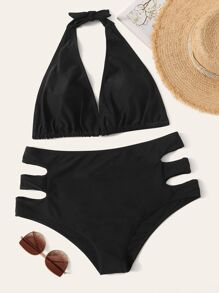 Plus Halter Top With Cut Out Bikini Set