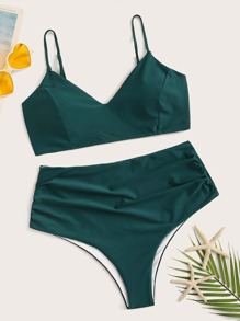 Plus Spaghetti Strap Top With High Waist Bikini Set