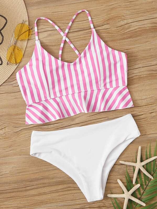 c122a524448b7 Striped Criss Cross Ruffle Hem Bikini Set | SHEIN UK