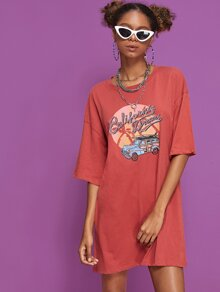 Letter & Car Print Drop Shoulder T-shirt Dress